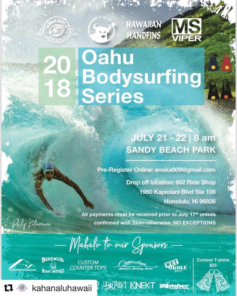 2018 Sandy Beach Bodysurfing Contest - Hawaiian Handfins - Handboards